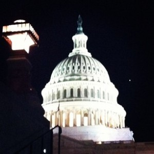 The US Capitol at night