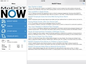 screenshot of MoDOT Now App