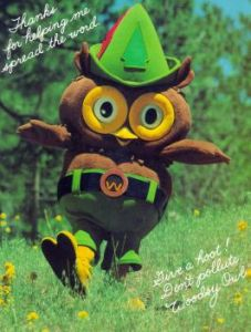 """Woodsy-Owl-original"". Licensed under Public Domain via Wikimedia Commons - http://commons.wikimedia.org/wiki/File:Woodsy-Owl-original.jpg#mediaviewer/File:Woodsy-Owl-original.jpg"